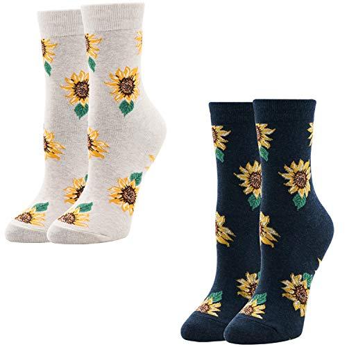 Women's Novelty Funny Crazy Crew Socks Sunflower Fruit Adorable Funky Casual Socks for Girls Mother's Gift