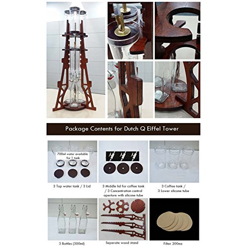 Dutch Q Cold Brew Coffee Iced Coffee Maker Wooden Eiffel Tower Home Hand Drip Dutch Machine &PDF English File on How to assenble& Free Gift (Key Ring) by Dutch Q (Image #1)