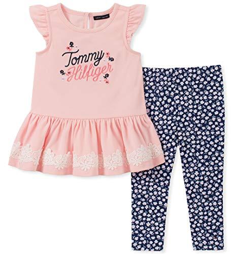 Tommy Hilfiger Baby Girls 2 Pieces Legging Set, Crystal Rose/Print 18M
