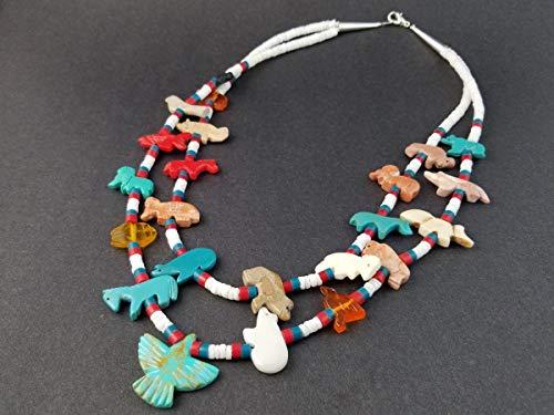 Handmade Thunderbird Double Strand White Clam Mixed Animals Fetish Necklace