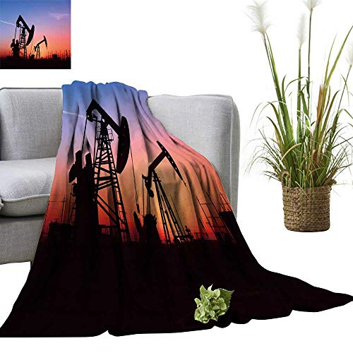 (YOYI Warm Blanket Pump Unit is Work in Oil fiel The Sunset Winter Lightweight Thermal Blankets for Couch Bed Sofa 60