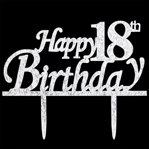Happy 18th Birthday Cake Topper 18 Silver Glitter Party Decorations