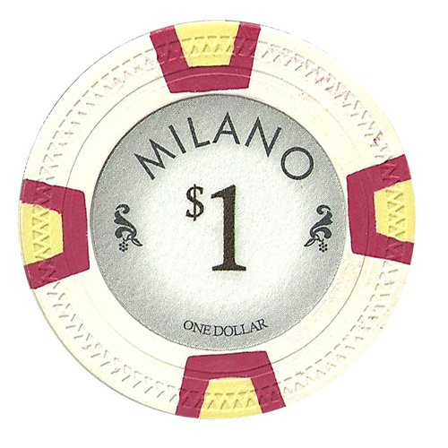 Claysmith Gaming $1 Clay Composite 10 Gram Milano Poker Chips - Sleeve of 25