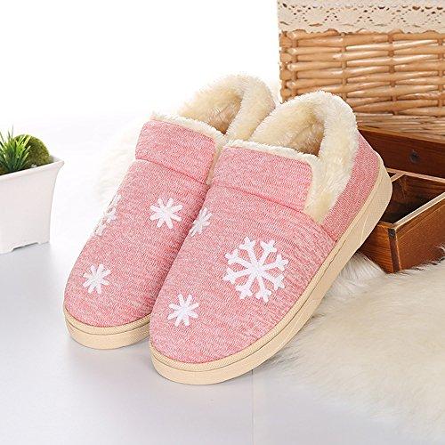 Eagsouni® Damen Winter Baumwolle Pantoffeln Plüsch Wärme Weiche Hausschuhe Kuschelige Home Rutschfeste atmungsaktive Slippers Pink