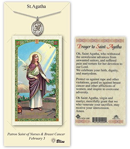 Pewter Saint Agatha Medal with Laminated Holy Prayer Card