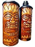 All Seas Imports CUSTOM HANDCARVED NATURAL FLAME DESIGN WOOD TABLE TOP TIKI TORCHES WITH FREE METAL CANNISTERS INCLUDED!