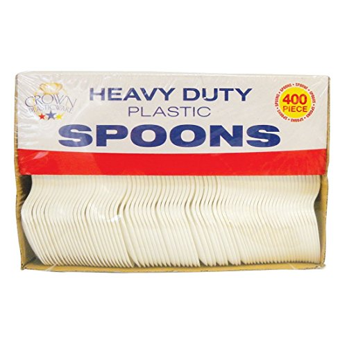 Escest Cutlery Disposable Plastic Teaspoons 400 Count, Heavy Duty Soft Adorable Quality, Disposable, Classic Designed, Case of 400, (Classic Teaspoons)