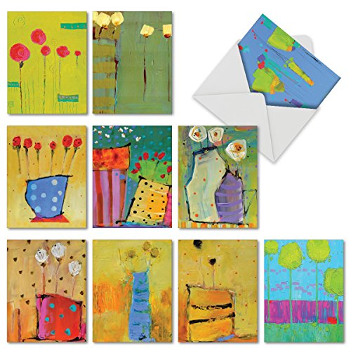 Assortment of 10 Blank Greeting Cards 4 x 5.12 inch with Envelopes - Painted Petals all Occasion Note Cards for Baby, Wedding, Mothers Day with Envelopes M6544OCB