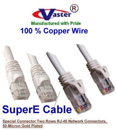 (VasterCable Cat.6 Cable, 70 Ft UTP CAT6 Gigabit Patch Cable, White Color)