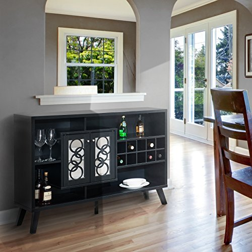 Liquor Storage Cabinet Buffet Server with Glass Doors Large in Cappuccino – Great for Storage of Your Favorite Bottles of Wine, Liquors, Glassware and Drinking Accessories