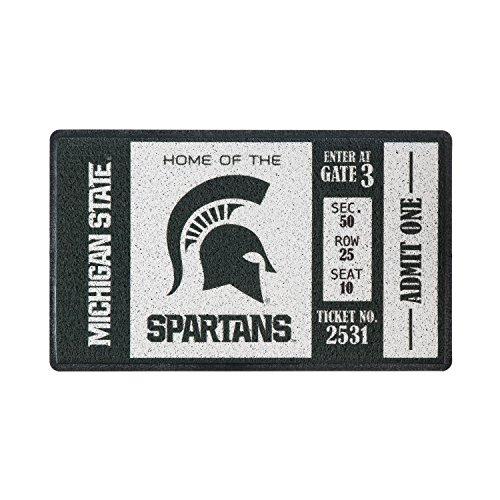 Team Sports America Michigan State University Recyclable PVC Vinyl Indoor/Outdoor Weather-Resistant Team Logo Door Turf Mat - Michigan State Spartans Rug