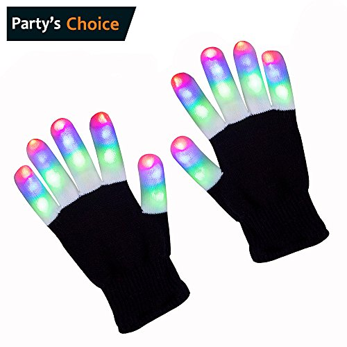 ZPTONE LED Gloves Finger Lights 3 Colors 6 Modes Flashing Rave Gloves Halloween Costume Party Favors Light Up Toys Novelty Christmas Gift
