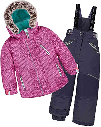 Deux par Deux Girls' 2-Piece Snowsuit Funny Mandalas Black, Sizes 5-14