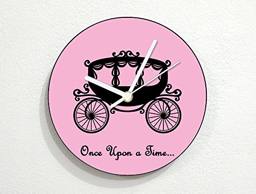 - Princess Cinderella Carriage - Once Upon A Time - Fairytale Baby Nursery Kids Room - Custom Name Wall Clock