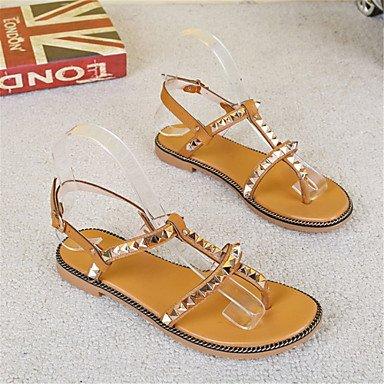 LvYuan Mujer Sandalias Innovador Zapatos formales Semicuero Verano Casual Vestido Fiesta y Noche Innovador Zapatos formales Tacón PlanoBlanco almond