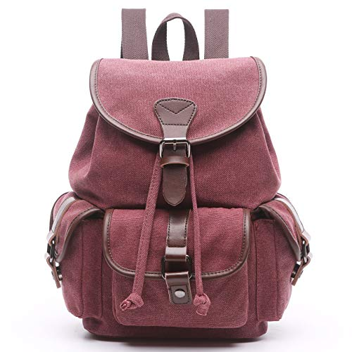 Women Canvas Backpack Purse Vintage Travel Rucksack for Teenager Girls College School Cute Slim Denim Fashion Daypack Bag (Purplish red-Small) by Xuanber