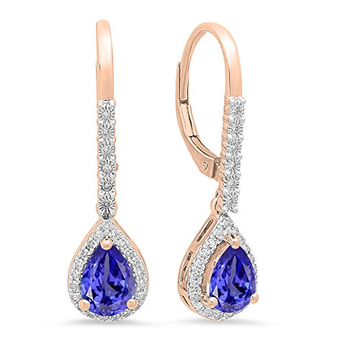 (Dazzlingrock Collection 10K 7X5 MM Each Pear Tanzanite & Round White Diamond Ladies Dangling Drop Earrings, Rose Gold)