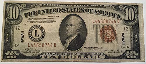 (Rare 1934 A Hawaii L Series Brown Seal $10 Ten Dollar Federal Reserve Washington DC US Note)