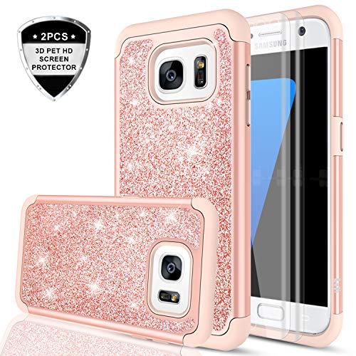 Galaxy S7 Edge Glitter Case (Not Fit Galaxy S7)with 2 Pack 3D PET Screen Protector, LeYi Bling Cute Girls Women Dual Layer Heavy Duty Protective Phone Case for Samsung Galaxy S7 Edge 2016 TP Rose Gold