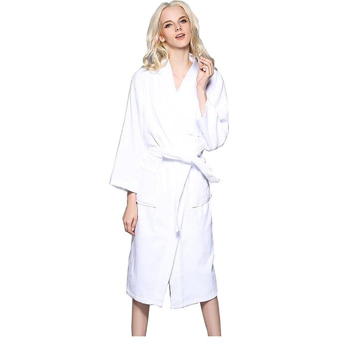 Albornoces Kimono Hombres Mujeres, Toallas de algodón Toalla de Tela Absorbente Batas Gruesas del Hotel del Balneario-Blanco L: Amazon.es: Ropa y accesorios