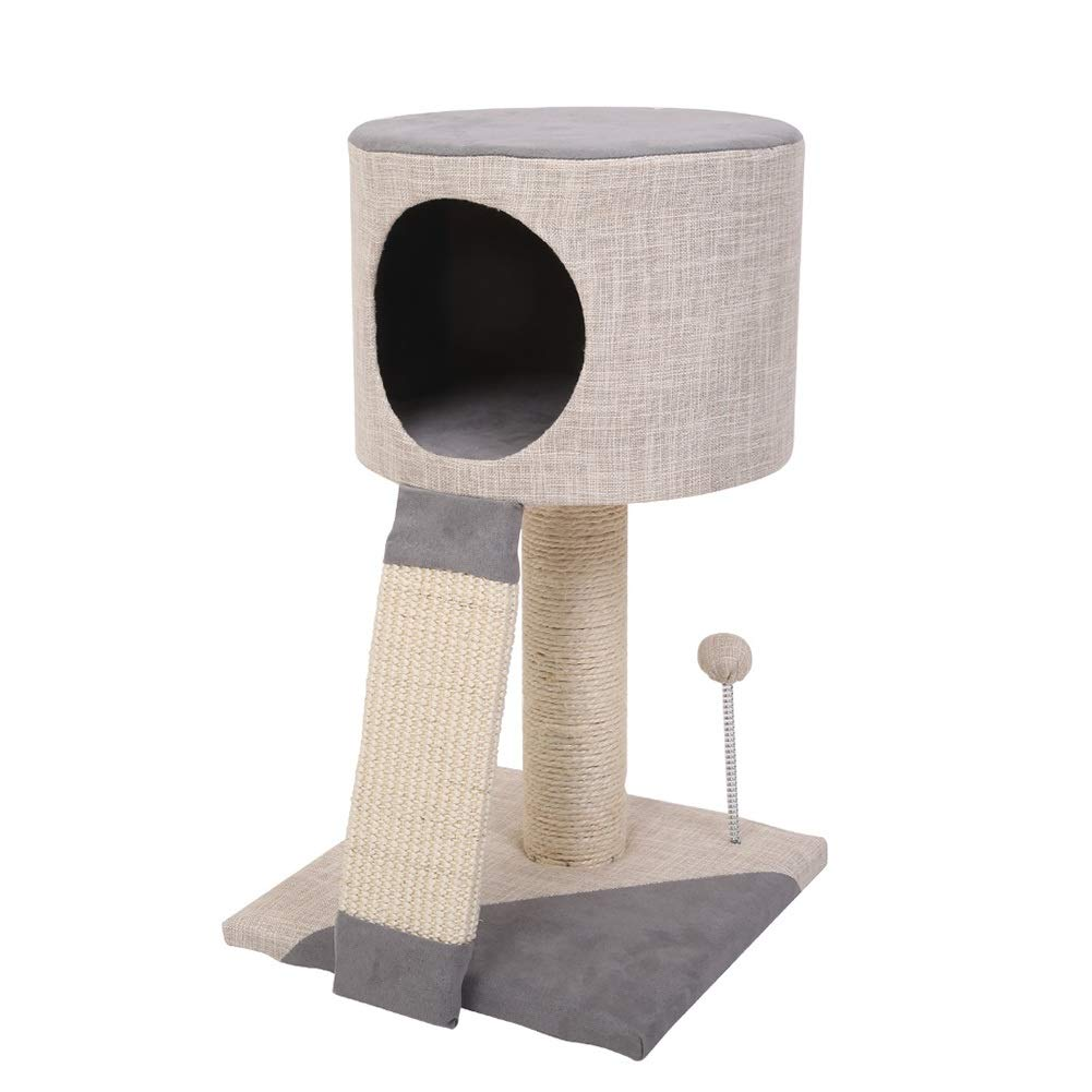Beige 31X31X52CM Beige 31X31X52CM LXHONG-Cat tree Climbing Frame Solid Wood Jump Platform Tree Hole Grab Board Grinding Claw Simple And Modern (color   Beige, Size   31X31X52CM)