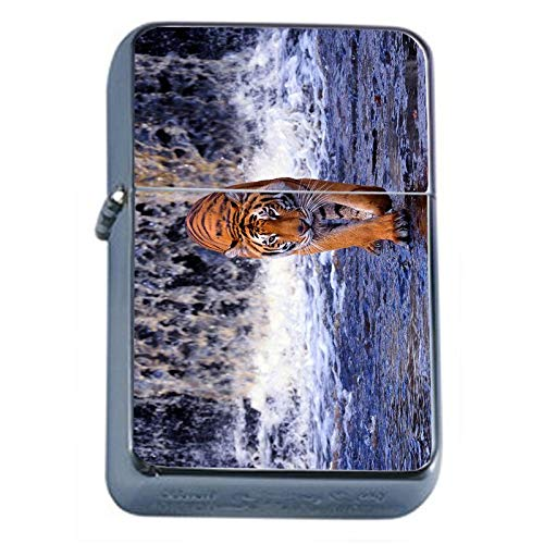 (Tiger Waterfall Flip Top Oil Lighter Em1 Smoking Cigarette Silver Case Included)