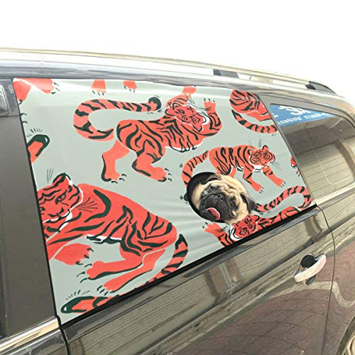 (Strong Tiger Painted Pet Dog Safety Car Part Vehicle Auto Window Fence Curtain Barriers Protector for Baby Kid Sun Shade Cover Universal Fit SUV)