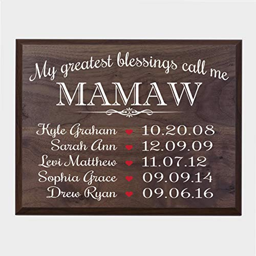 LifeSong Milestones Personalized Gifts for Mamaw Wall Plaque Sign with Children's Names Birth Dates to Remember My Greatest Blessings Call me Mamaw - Date Plaque Birth