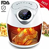 SLC Air Fryer, 1300W Electric Air Fryer 2.6L Oil Free Air fryer with Digital Touch Screen Control, 7 Cooking Presets, Timer, Temperature Control, 2.7QT Detachable Basket for Baking Grill Roast