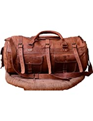 Leather Vintage Trim Travel Duffel Bag Unisex Gym Sports Shoulder Bag By Indo Craft (22x11x11inches)