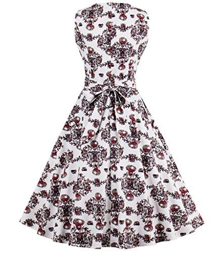 Aecibzo Vintage Des Années 1950 Jardin Printemps Floral Robe De Soirée De Pique-nique Partie Robe De Cocktail De Café