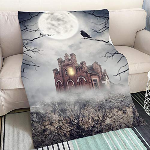 Super Soft Flannel Thicken Blanket Haunted Abandoned House on The Rock Halloween Scene Perfect for Couch Sofa or Bed Cool Quilt ()