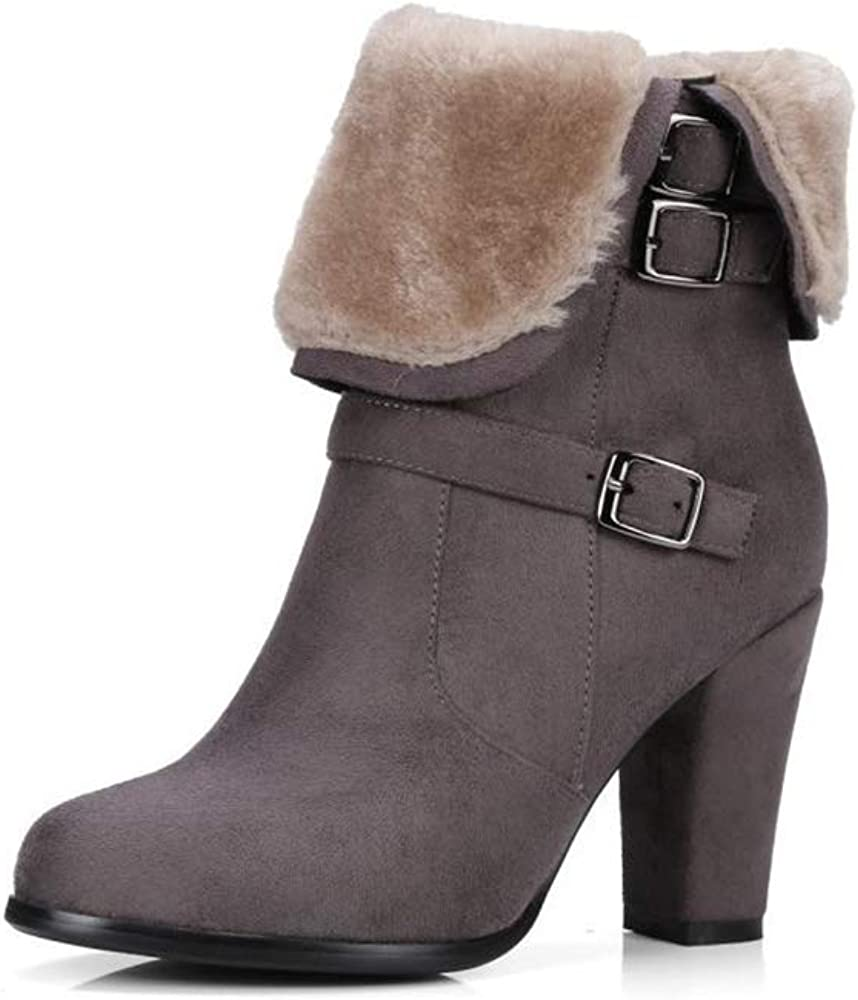 FLourishing Womens Fur Mid Chunky Heels Round Toe Lace Up Ankle Boots
