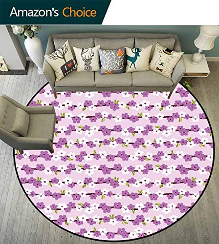 Japanese Round Rug,Horizontal Branches with Cherry Blossoms Flourishing Sakura Tree Pattern Waterproof and Easy Clean,Lilac White Green,D-75
