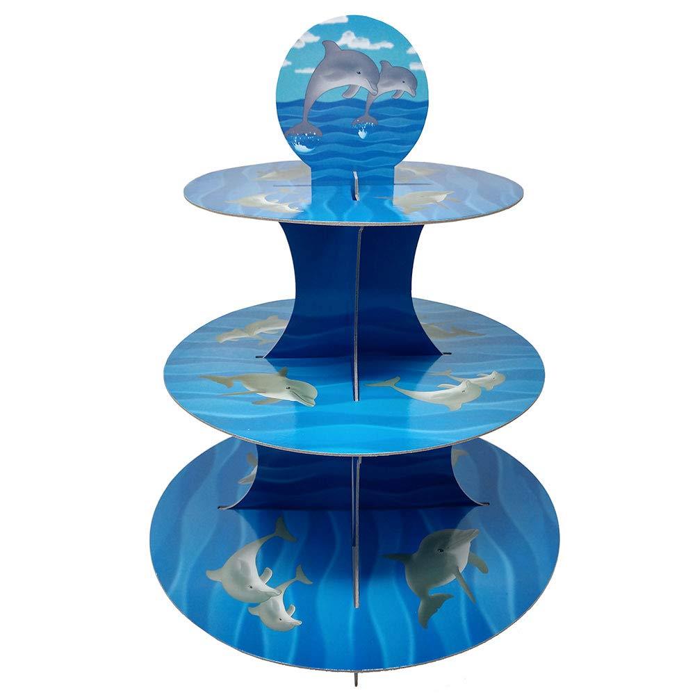 イルカ カップケーキスタンド & ピックキット イルカ パーティー用品 海の装飾 誕生日 ケーキデコレーション 子供 誕生日 3段 ボール紙   B07MXPZ4P4