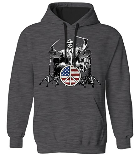 Tone Peace Sign - Abraham Lincoln Drummer - American Peace Sign Rock 2 Tone Hoodie Sweatshirt (CHAR, Small)