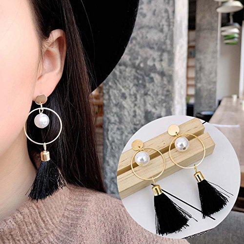 Circle Faux Earrings - angel3292 Fashion Women Faux Pearl Circle Tassel Long Dangle Drop Earrings Party Jewelry - Black