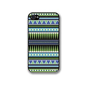 Aztec Hipster Turquoise Tribal Pattern iPhone 4 Quality Hard Snap On Case for iPhone 4 4S 4G - AT&T Sprint Verizon - Black Frame