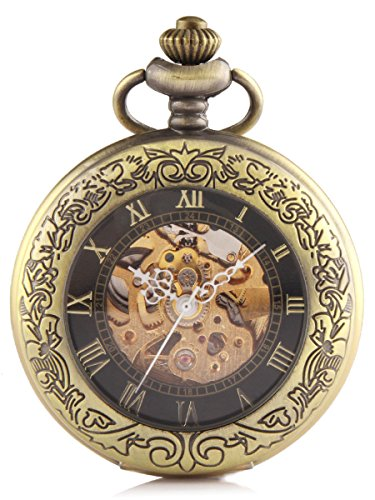Alienwork Retro mechanische Automatik Taschenuhr Skelett Uhr graviert schwarz bronze braun Metall W915-03