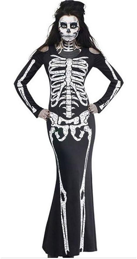 QAQBDBCKL Disfraces de Halloween Vestido de Manga Larga para Mujer ...