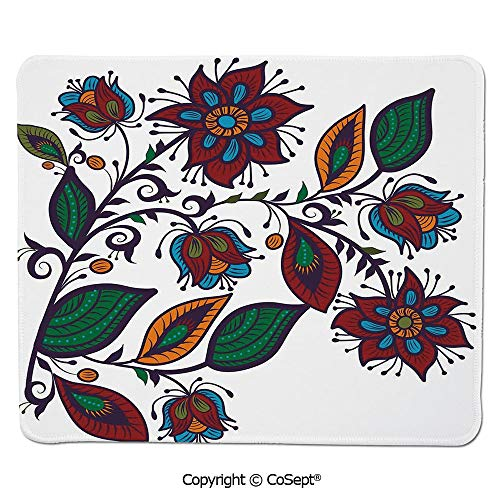 Ergonomic Mouse pad,Slavic Russian Style Bellflowers Cultural Traditional Wildlife Garden Illustration,Non-Slip Water-Resistant Rubber Base Cloth Computer Mouse Mat (7.87