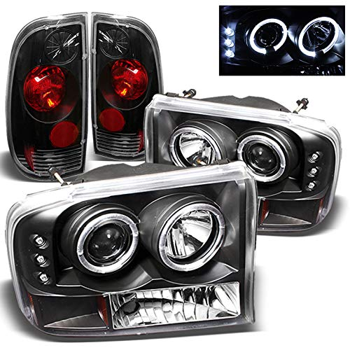 For 1999-2004 Ford F250 F350 Super Duty Halo LED Projector Headlights + Tail Lights Set 2000 2001 2002 ()
