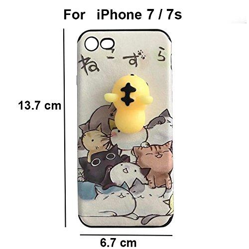 Pinzhi Pinzhi 3D Nizza Weiche Silikon Pappy Squishy Katze für iPhone 7 Case Gelbe Rumpf Handy Shell Art