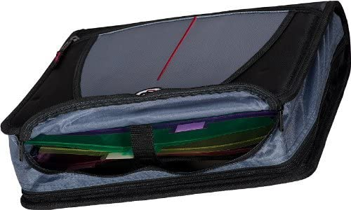 Black D-146-BLK Color Case-it Large Capacity 3-Inch Zipper Binder Black