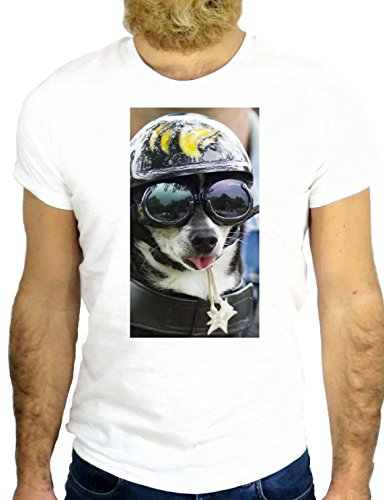 T SHIRT Z1115 DOG FUN COOL NICE HIPSTER ANIMAL FUN PET BIKER USA AMERICA UK GGG24 BIANCA - WHITE S