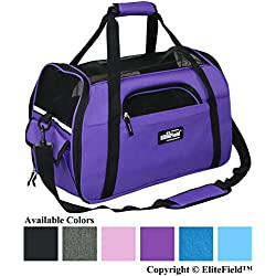 "EliteField Soft Sided Pet Carrier (3 Year Warranty, Airline Approved), Multiple Sizes and Colors Available (Medium: 17"" L x 9"" W x 12"" H, Purple)"