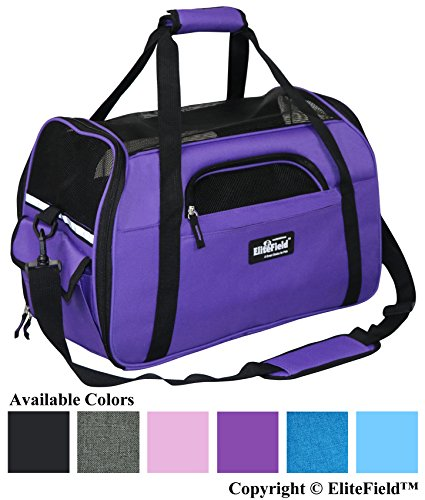 EliteField Soft Sided Pet Carrier (3 Year Warranty, Airline Approved), Multiple Sizes and Colors Available (Medium: 17' L x 9' W x 12' H, Purple)