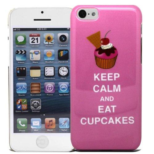 Accessory Master 5c pnk cupck Keep Calm and eat Cup Cakes Hart Schutzhülle für Apple iPhone 5C rosa