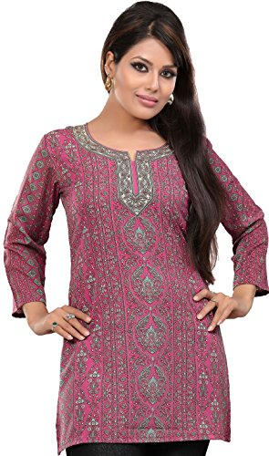 Indian Kurti Top Tunic Printed Womens Blouse India Clothes (Pink, L)