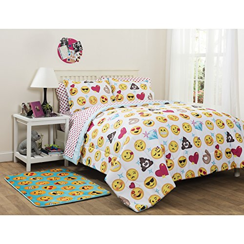UNK2 5 Piece Yellow Pink Blue Emoji Smilie Faces Theme Comforter Twin XL Set, Vibrant Colorful All Over Emojicons Bedding, Fun Multi Smiley Diamond Heart Themed Pattern, Polyester -